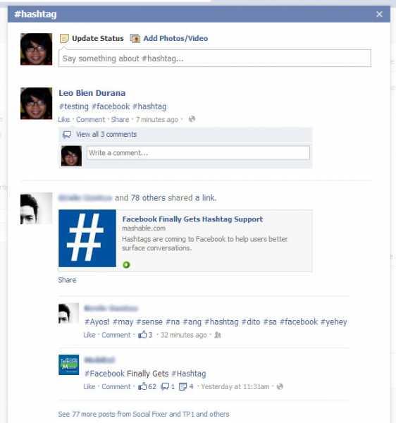 facebook hashtag example