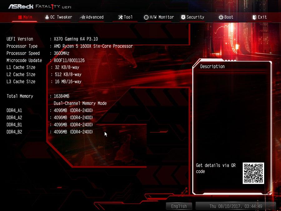 ASRock X370 Gaming K4 UEFI 1
