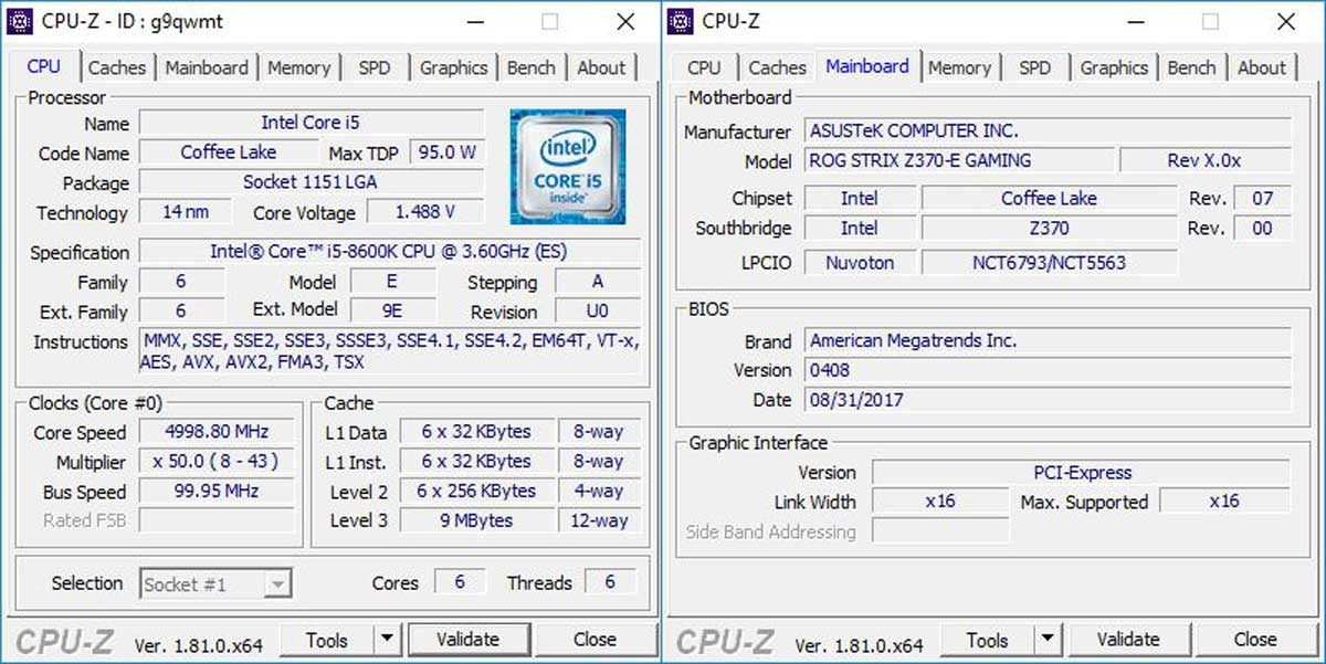 Intel Core i5 8600K Benchmarks